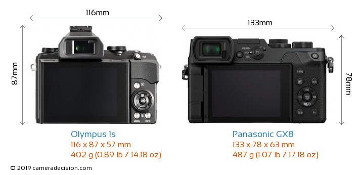 Olympus 1s vs Panasonic GX8 Camera Size Comparison - Back View