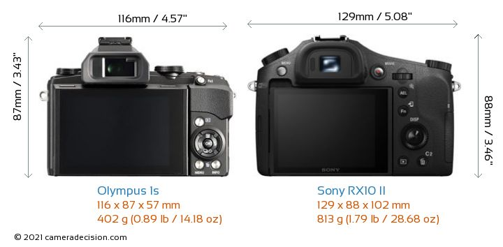 Olympus 1s vs Sony RX10 II Camera Size Comparison - Back View