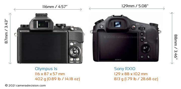 Olympus 1s vs Sony RX10 Camera Size Comparison - Back View