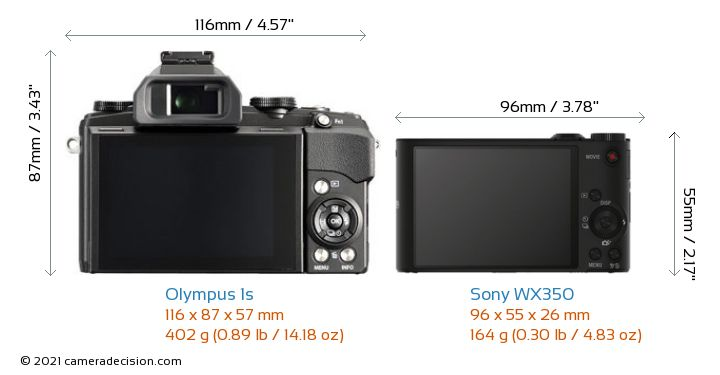 Olympus 1s vs Sony WX350 Camera Size Comparison - Back View