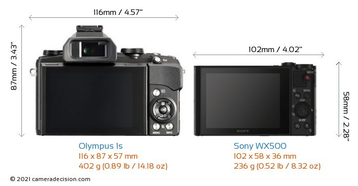 Olympus 1s vs Sony WX500 Camera Size Comparison - Back View