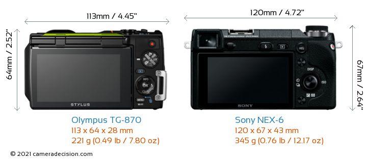 Olympus TG-870 vs Sony NEX-6 Camera Size Comparison - Back View