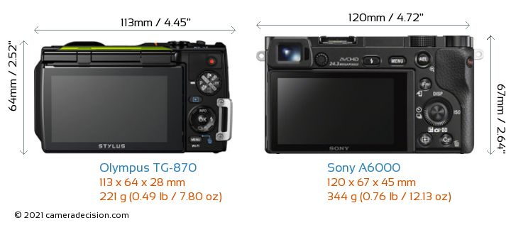 Olympus TG-870 vs Sony A6000 Camera Size Comparison - Back View
