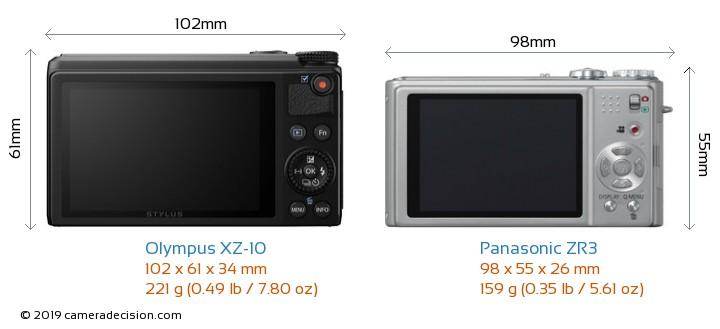 Olympus XZ-10 vs Panasonic ZR3 Camera Size Comparison - Back View