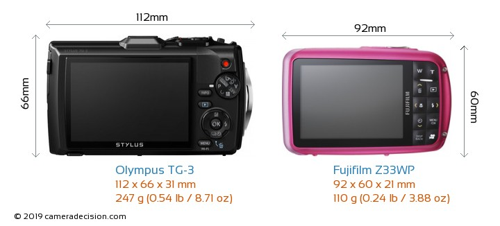 Olympus TG-3 vs Fujifilm Z33WP Camera Size Comparison - Back View