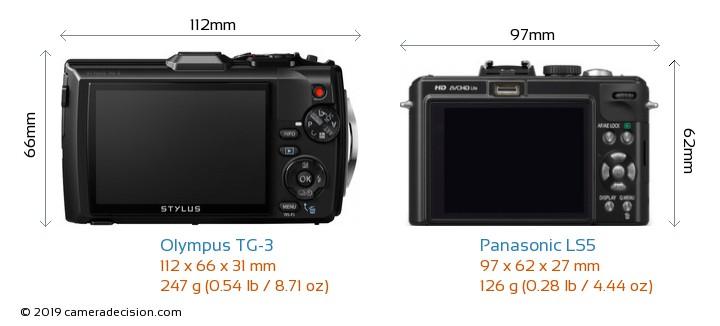 Olympus TG-3 vs Panasonic LS5 Camera Size Comparison - Back View