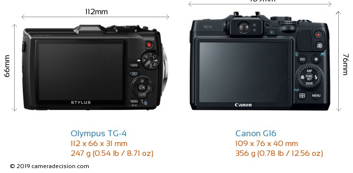 Olympus TG-4 vs Canon G16 Camera Size Comparison - Back View