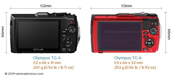 Olympus TG-4 vs Olympus TG-6 Camera Size Comparison - Back View