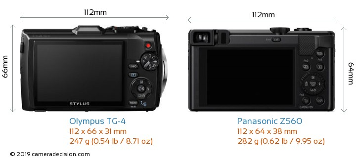 Olympus TG-4 vs Panasonic ZS60 Camera Size Comparison - Back View