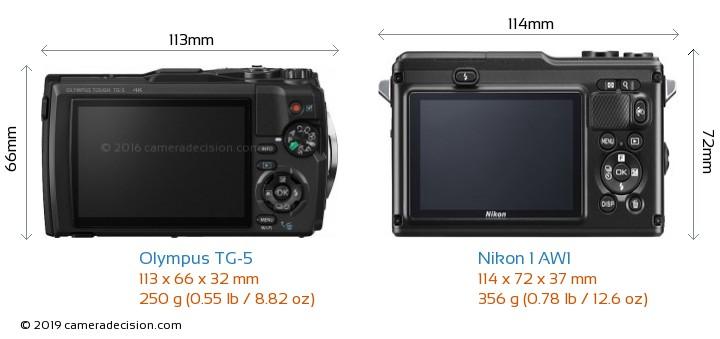 Olympus TG-5 vs Nikon 1 AW1 Camera Size Comparison - Back View