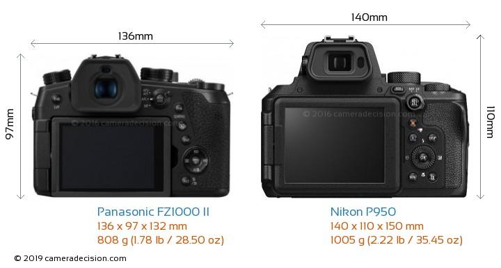 Panasonic FZ1000 II vs Nikon P950 Camera Size Comparison - Back View