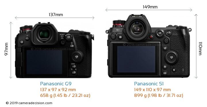 Panasonic G9 vs Panasonic S1 Camera Size Comparison - Back View