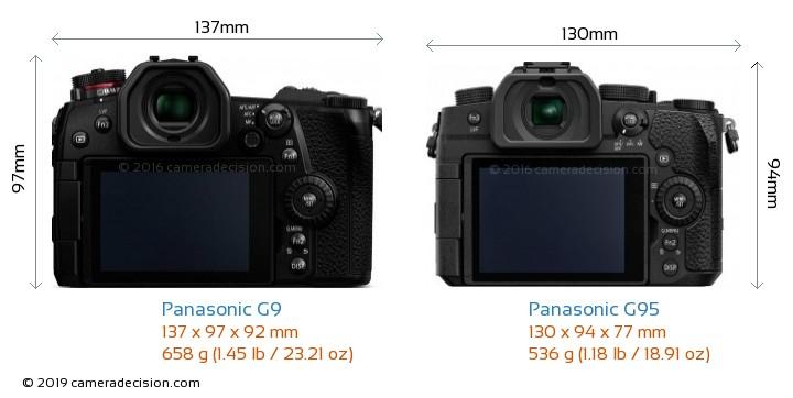 Panasonic G9 vs Panasonic G95 Camera Size Comparison - Back View