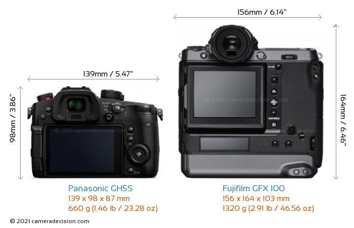 Panasonic GH5S vs Fujifilm GFX 100 Camera Size Comparison - Back View