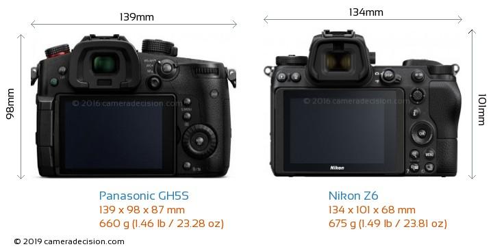 Panasonic GH5S vs Nikon Z6 Camera Size Comparison - Back View