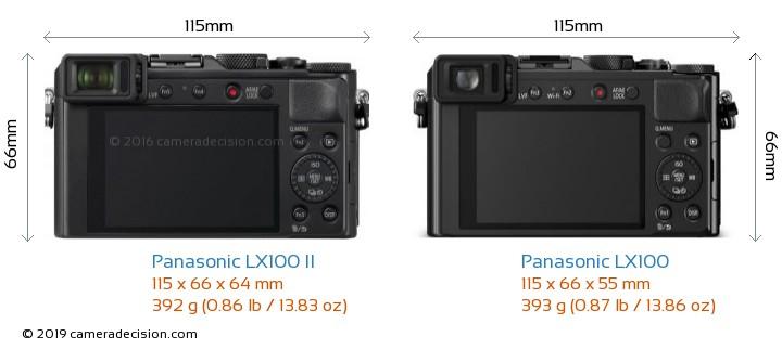 Panasonic LX100 II vs Panasonic LX100 Camera Size Comparison - Back View