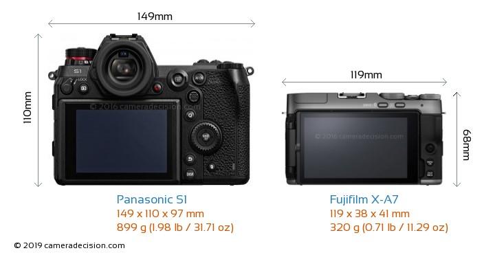 Panasonic S1 vs Fujifilm X-A7 Camera Size Comparison - Back View