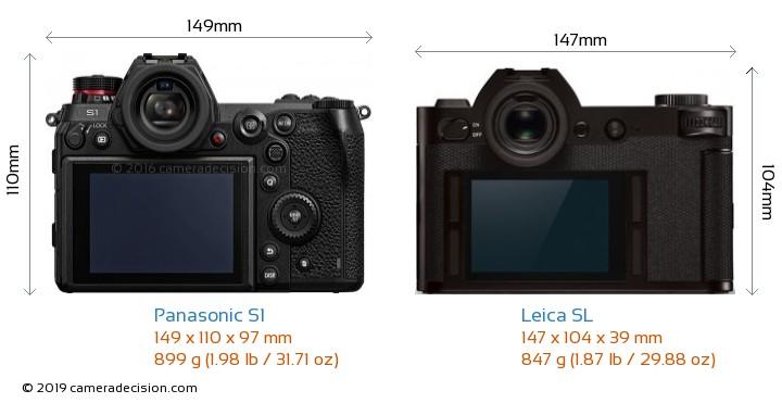 Panasonic S1 vs Leica SL Camera Size Comparison - Back View