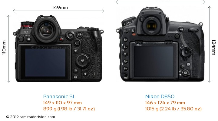 Panasonic S1 vs Nikon D850 Camera Size Comparison - Back View