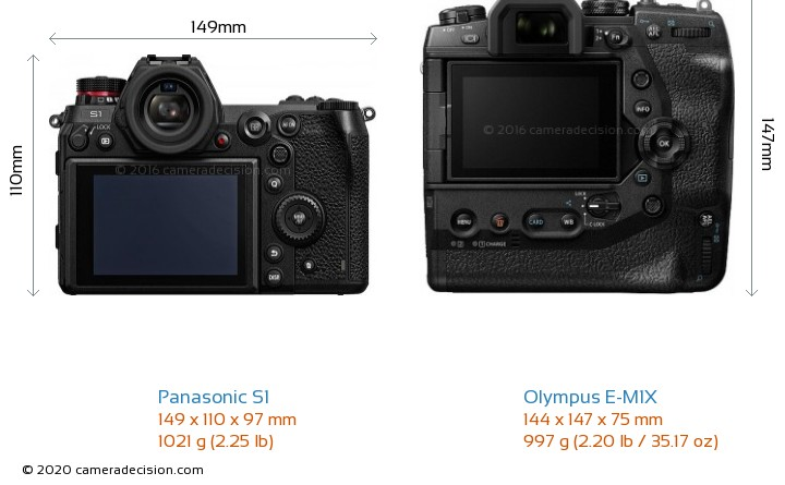 Panasonic S1 vs Olympus E-M1X Camera Size Comparison - Back View
