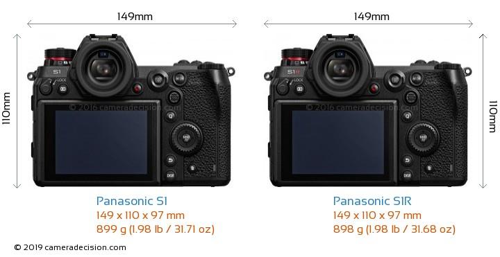 Panasonic S1 vs Panasonic S1R Camera Size Comparison - Back View
