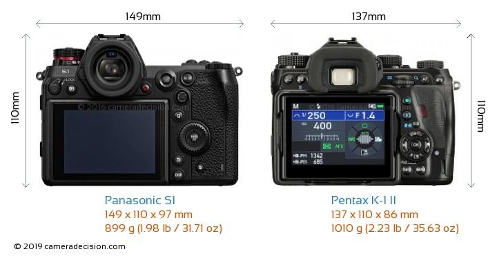 Panasonic S1 vs Pentax K-1 II Camera Size Comparison - Back View