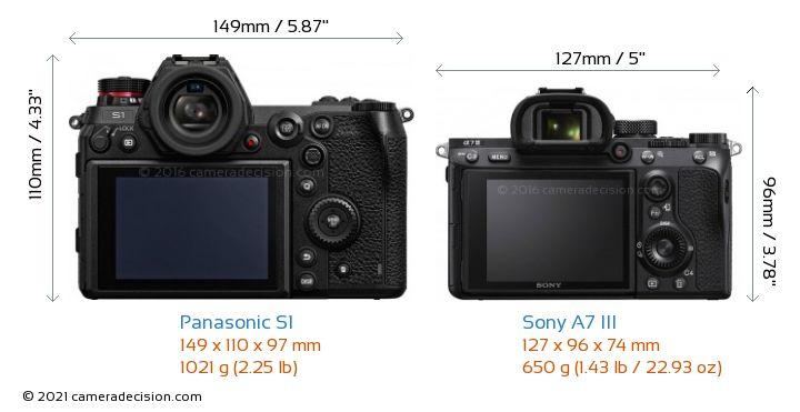 Panasonic S1 vs Sony A7 III Camera Size Comparison - Back View