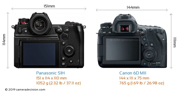 Panasonic S1H vs Canon 6D MII Camera Size Comparison - Back View