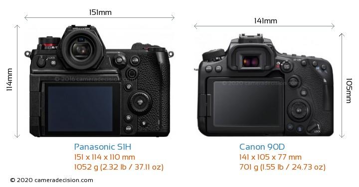 Panasonic S1H vs Canon 90D Camera Size Comparison - Back View
