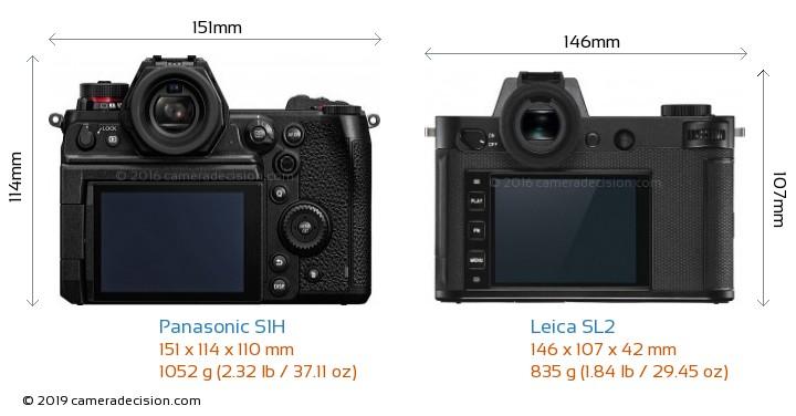 Panasonic S1H vs Leica SL2 Camera Size Comparison - Back View