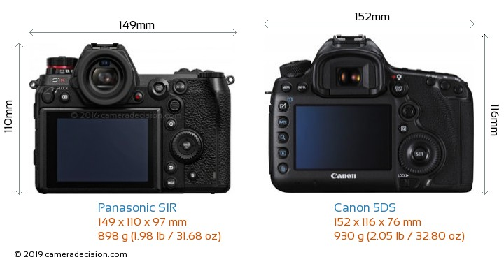 Panasonic S1R vs Canon 5DS Camera Size Comparison - Back View