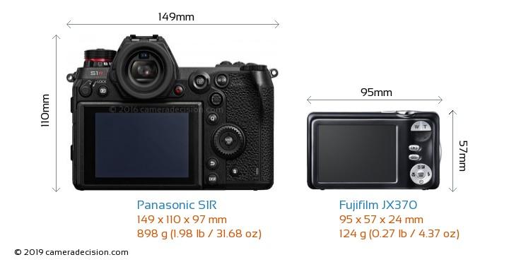 Panasonic S1R vs Fujifilm JX370 Camera Size Comparison - Back View