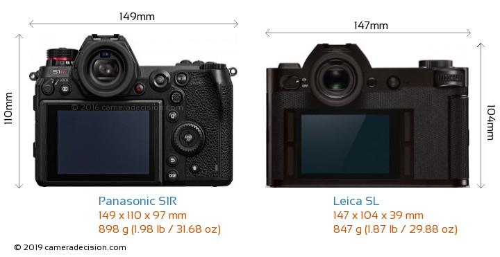 Panasonic S1R vs Leica SL Camera Size Comparison - Back View