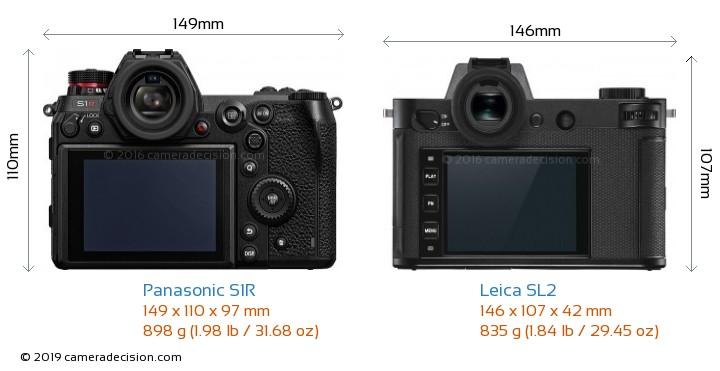 Panasonic S1R vs Leica SL2 Camera Size Comparison - Back View