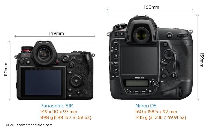 Panasonic S1R vs Nikon D5 Camera Size Comparison - Back View