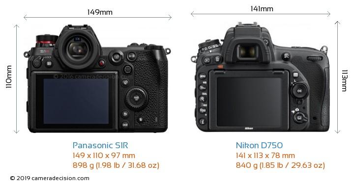 Panasonic S1R vs Nikon D750 Camera Size Comparison - Back View