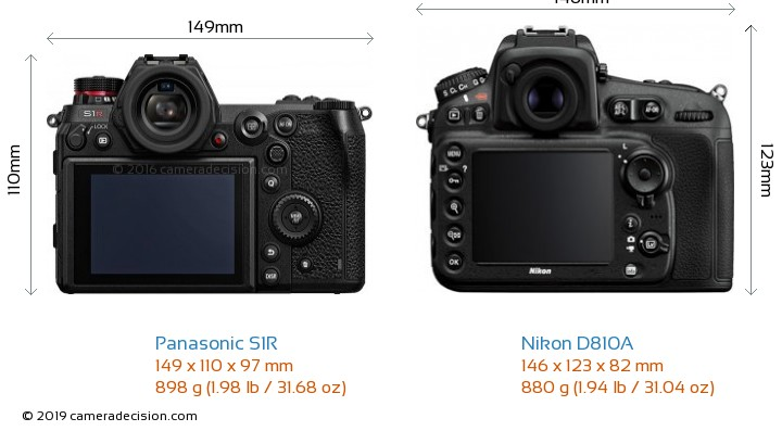 Panasonic S1R vs Nikon D810A Camera Size Comparison - Back View