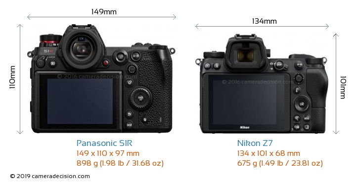 Panasonic S1R vs Nikon Z7 Camera Size Comparison - Back View