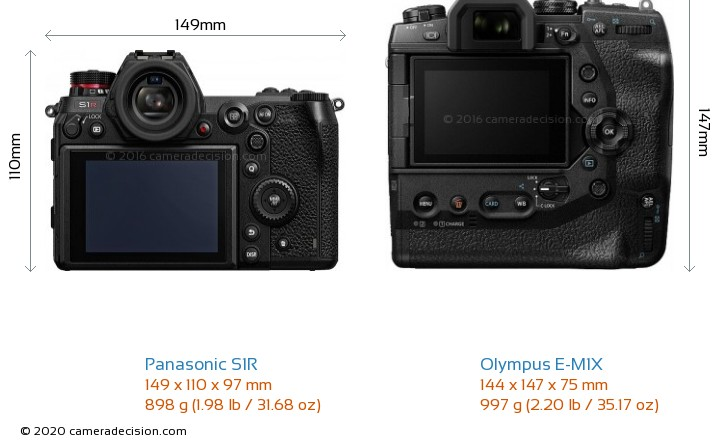 Panasonic S1R vs Olympus E-M1X Camera Size Comparison - Back View