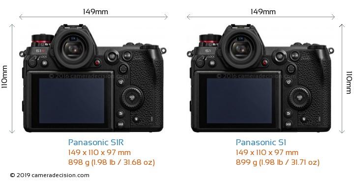 Panasonic S1R vs Panasonic S1 Camera Size Comparison - Back View