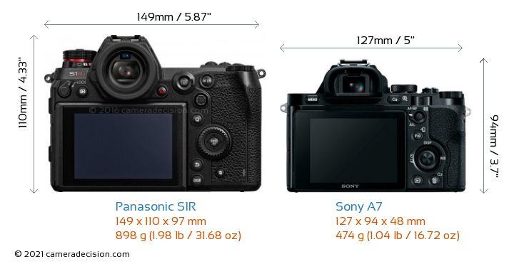 Panasonic S1R vs Sony A7 Camera Size Comparison - Back View