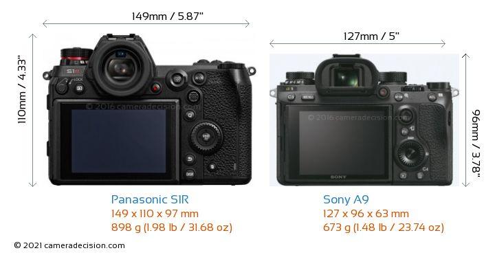 Panasonic S1R vs Sony A9 Camera Size Comparison - Back View