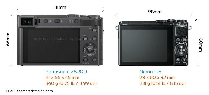 Panasonic ZS200 vs Nikon 1 J5 Camera Size Comparison - Back View