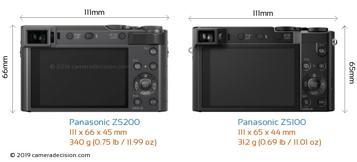 Panasonic ZS200 vs Panasonic ZS100 Camera Size Comparison - Back View