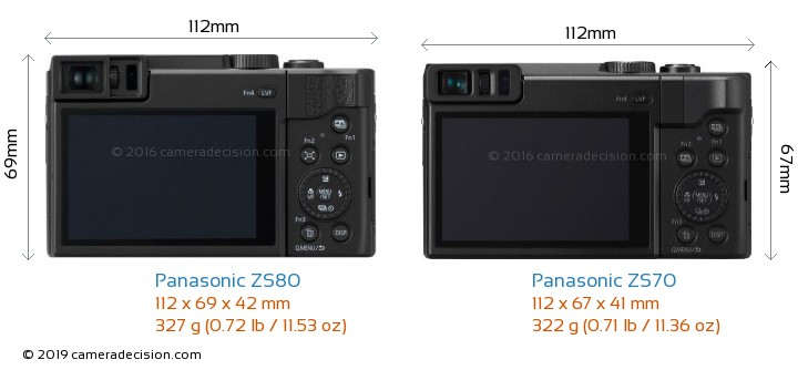 Panasonic ZS80 vs Panasonic ZS70 Camera Size Comparison - Back View