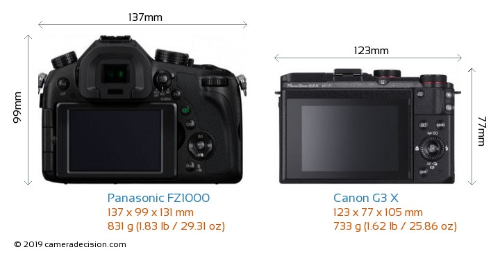 Panasonic FZ1000 vs Canon G3 X Camera Size Comparison - Back View