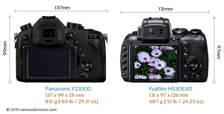 Panasonic FZ1000 vs Fujifilm HS30EXR Camera Size Comparison - Back View