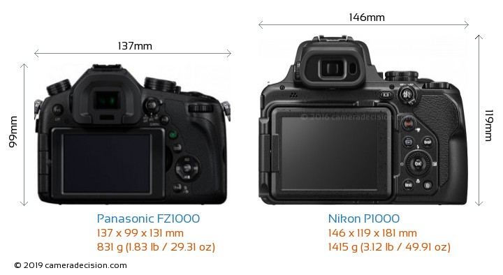 Panasonic FZ1000 vs Nikon P1000 Camera Size Comparison - Back View