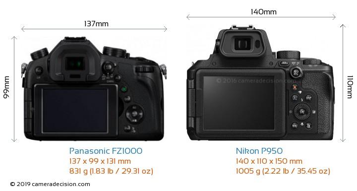 Panasonic FZ1000 vs Nikon P950 Camera Size Comparison - Back View