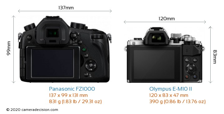 Panasonic FZ1000 vs Olympus E-M10 II Camera Size Comparison - Back View